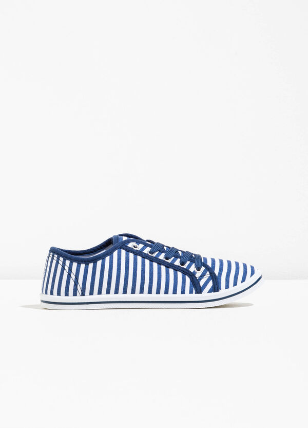 Striped pattern fabric sneakers | OVS