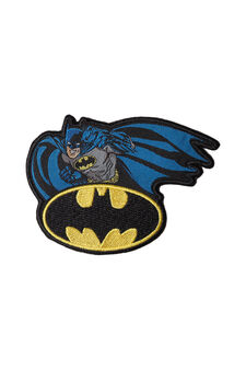Batman cotton iron-on patch, Grey/Blue, hi-res