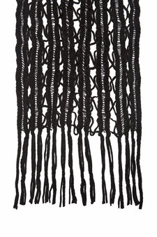 Openwork design scarf., Black, hi-res