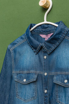 Denim shirt with pockets, Dark Blue, hi-res