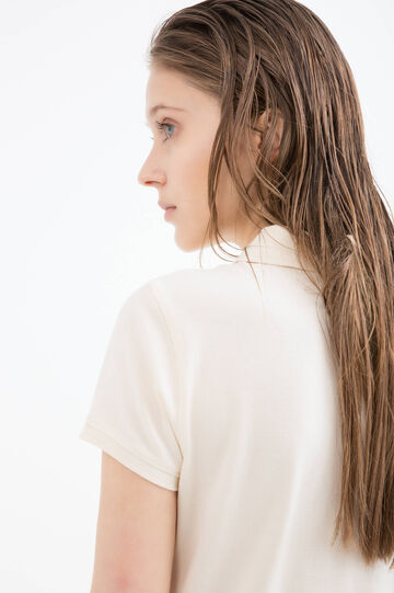 Solid colour stretch cotton polo shirt., Beige, hi-res