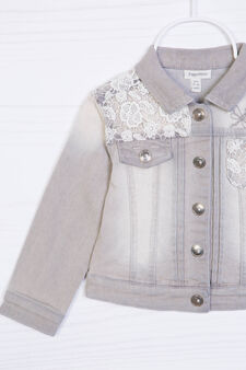 Stretch denim jacket with lace, Light Grey, hi-res