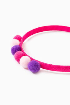 Solid colour hairband with contrasting pompom, Multicolour, hi-res