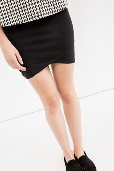 Short skirt in stretch cotton, Black, hi-res