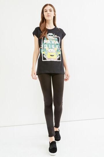 Minions printed T-shirt in 100% cotton, Black, hi-res