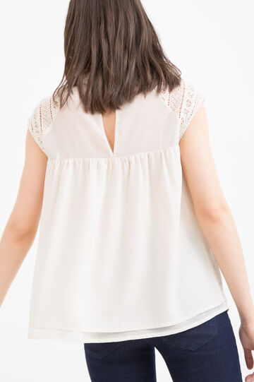 Blouse with openwork insert, Chalk White, hi-res