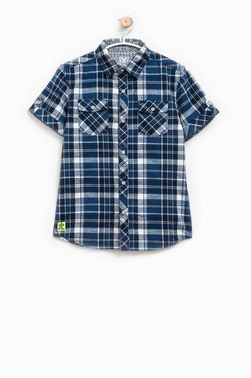 Camicia tartan con maniche corte, Bianco/Blu, hi-res