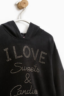 Stretch cotton hoodie with diamanté motif, Black, hi-res