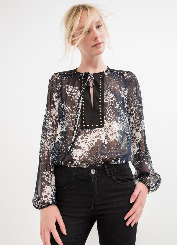 Semi-sheer blouse with studs | OVS