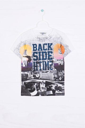 T-shirt puro cotone stampa all-over, Bianco/Grigio, hi-res