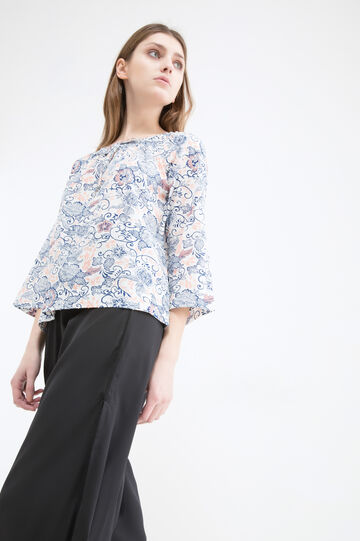 Printed blouse in 100% cotton, Multicolour, hi-res