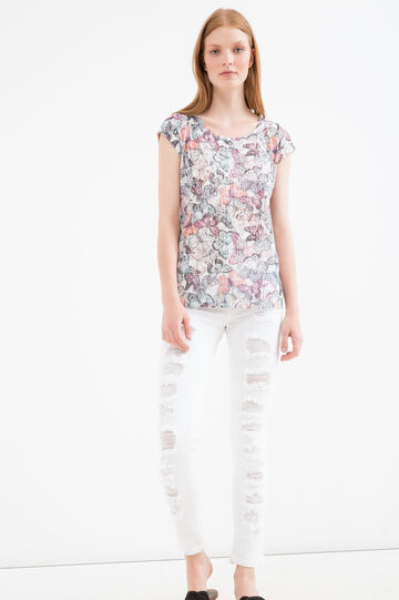 T-shirt in viscose blend with all-over print