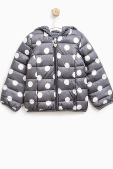 Patterned down jacket with hood, Dark Grey, hi-res