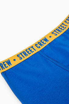 Stretch cotton printed boxers, Royal Blue, hi-res