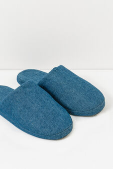 Solid colour canvas slippers, Blue, hi-res