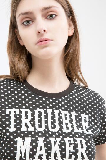 100% cotton T-shirt with print, Black, hi-res