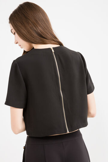 T-shirt crop stretch con zip, Nero, hi-res