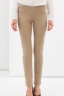 Plain stretch trousers, Khaki, hi-res