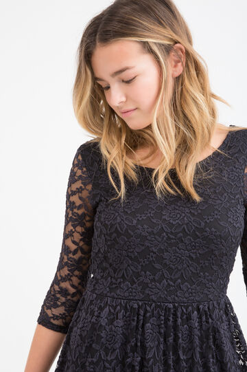 Teen stretch dress with lace, Black, hi-res