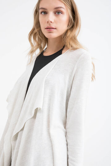 Cardigan viscosa stretch e lurex, Bianco, hi-res