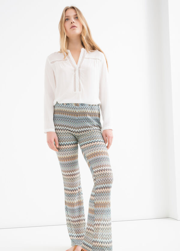 Stretch patterned flared trousers | OVS