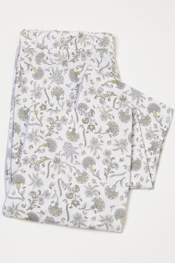 Curvy cotton pyjama trousers, White, hi-res
