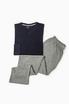 Solid colour cotton and viscose pyjamas, Navy Blue, hi-res