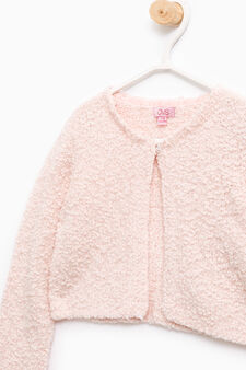 Solid colour knitted shrug, Pink, hi-res