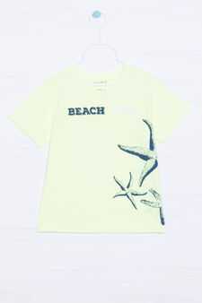 Printed cotton T-shirt, Neon Yellow, hi-res