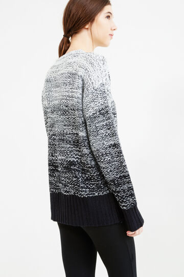 Knit degradé-effect pullover, White/Black, hi-res