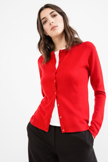 Solid colour thin ribbed cardigan, Red, hi-res