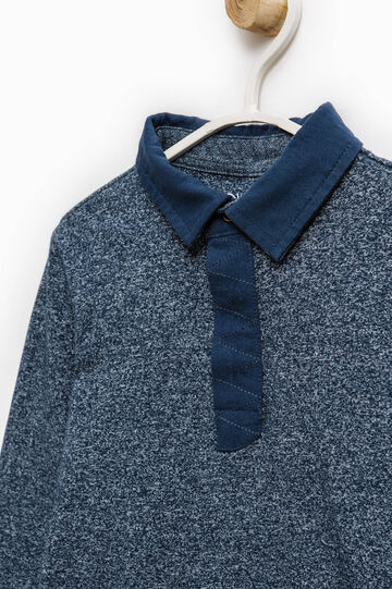 100% cotton polo shirt with long sleeves, Deep Blue, hi-res