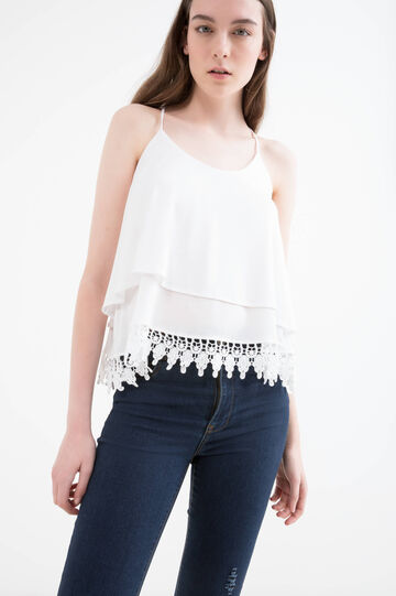 Solid colour viscose crop top, Milky White, hi-res