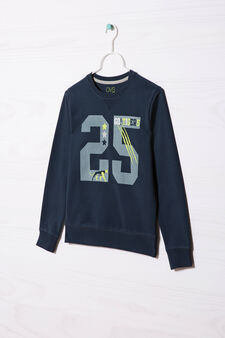 100% cotton sweatshirt with printed lettering, Navy Blue, hi-res