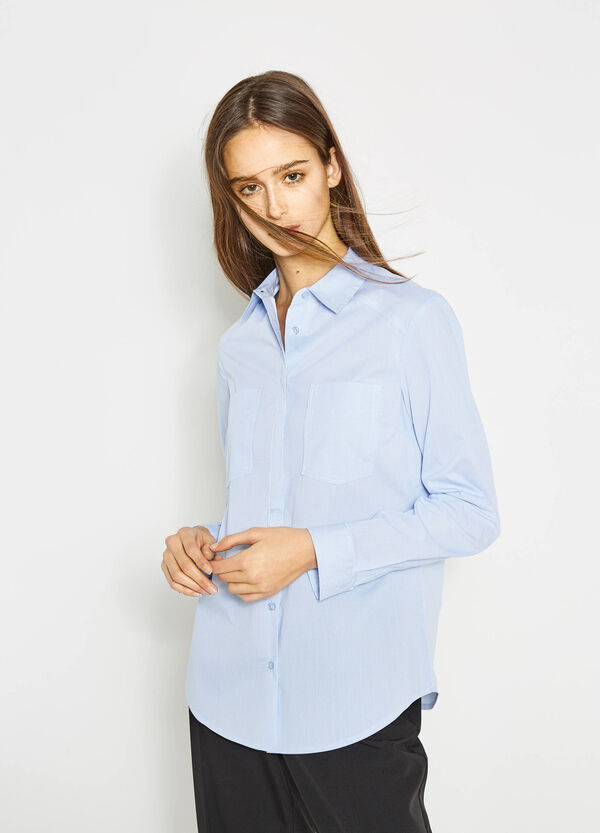Yarn-dyed cotton shirt with micro stripes | OVS