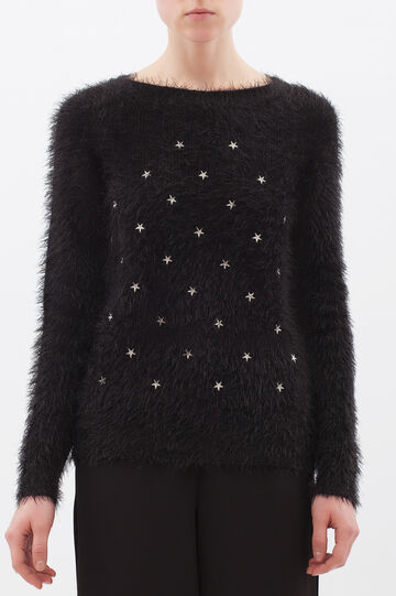 Shaggy pullover with round neck, Black/White, hi-res