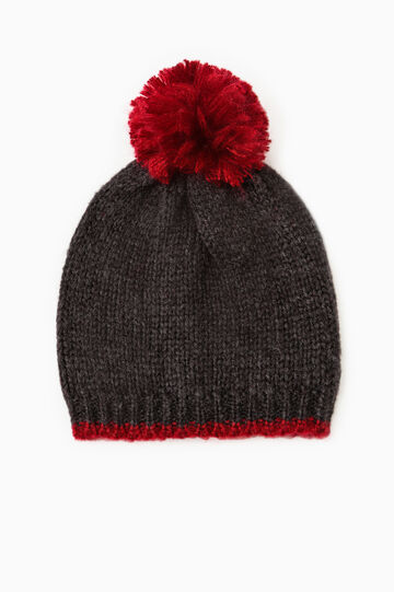Beanie cap with pompom, Grey/Red, hi-res