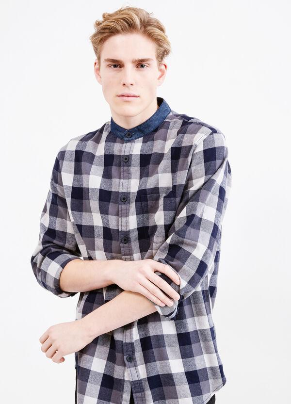 Casual cotton shirt with mandarin collar. | OVS