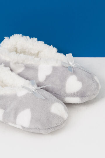 Fur slippers with heart pattern, White/Grey, hi-res