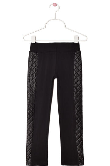 Stretch trousers with leather look inserts, Black, hi-res