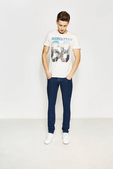 T-shirt girocollo con stampa, Bianco, hi-res