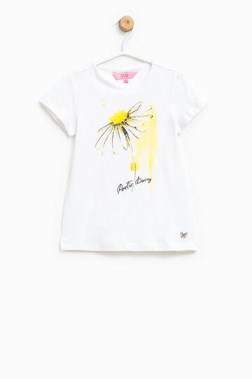 T-shirt con inserto a farfalla e strass