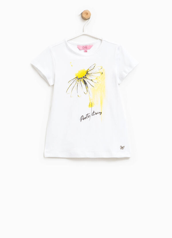 T-shirt with butterfly insert and diamantés | OVS