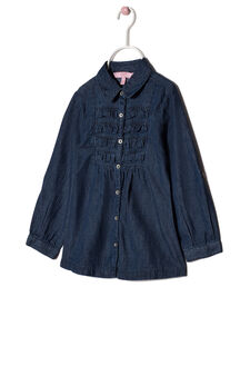 Camicetta in chambray con volants, Blu, hi-res
