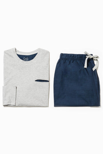 Cotton pyjamas with pocket, Blue/Grey, hi-res