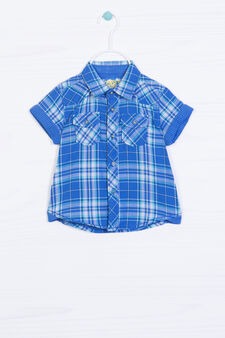 Check shirt in 100% cotton, White/Light Blue, hi-res