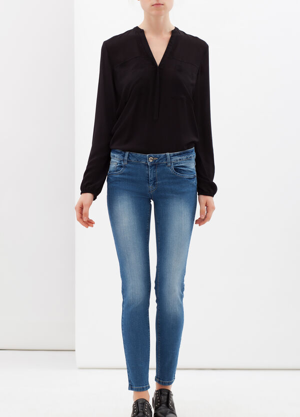Skinny fit, faded-effect jeans | OVS