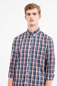Check cotton blend casual shirt, Blue/Red, hi-res