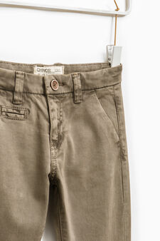 Solid colour stretch chino trousers, Tobacco Brown, hi-res