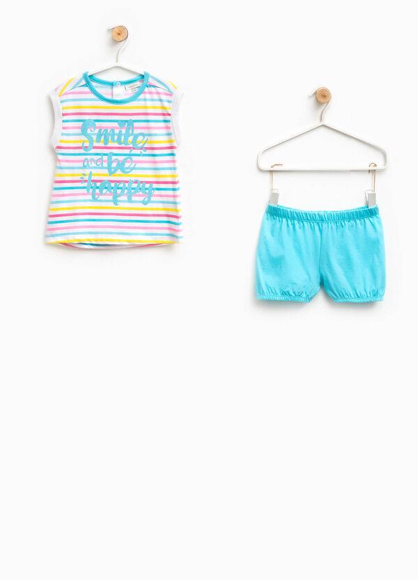 Striped cotton top and shorts pyjama set | OVS